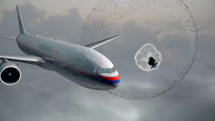 Still from animation DSB. Buk warhead detonates before hitting MH17.