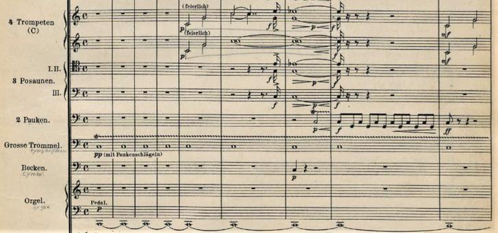 R.シュトラウス『ツァラトゥストラはかく語りき』冒頭の「序奏」のオーケストラ・スコア(部分)。上からトランペット、トロンボーン、ティンパニ、大太鼓、シンバル、パイプオルガン 宇宙の夜明けを感じさせる。(International Music Score Library Project より)