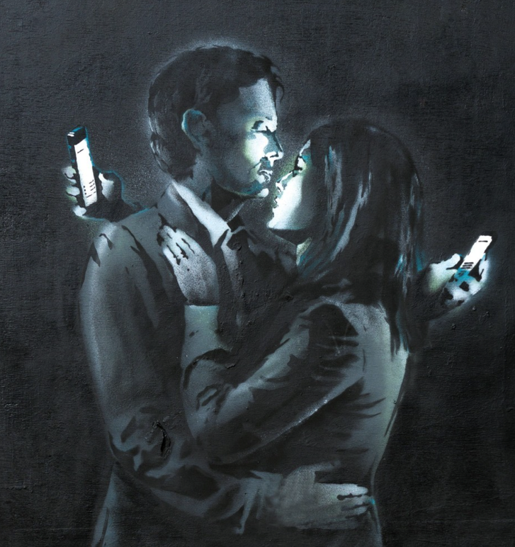 "Banksy, ""Mobile Lovers""  (2014)"