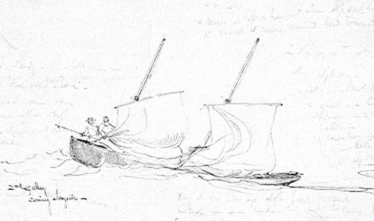 Embarcation légère anglaise, appelée galley, vers 1850,  proche des péniches de l'île de Batz (Coll. National Maritime Museum Greenwich)