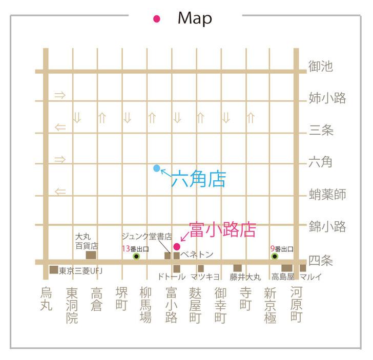 京都人気美容院calon hairのマップ