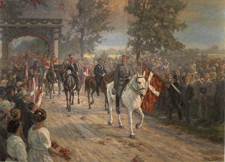Dänische Nationalikone: König Christian 10. reitet über die Grenze bei Kolding. Foto: Museum Sønderjylland/PR