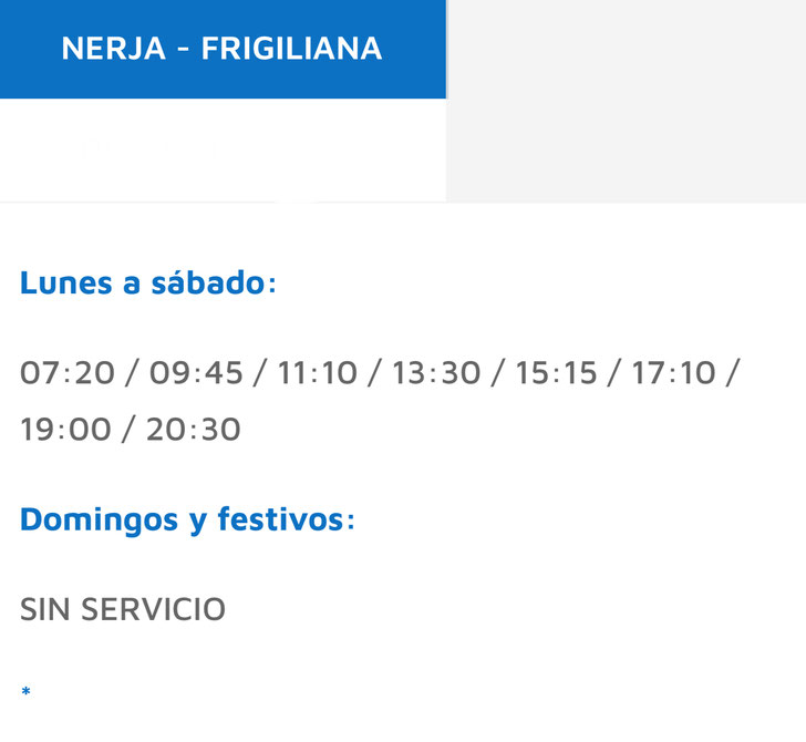 Frigiliana bus timetable