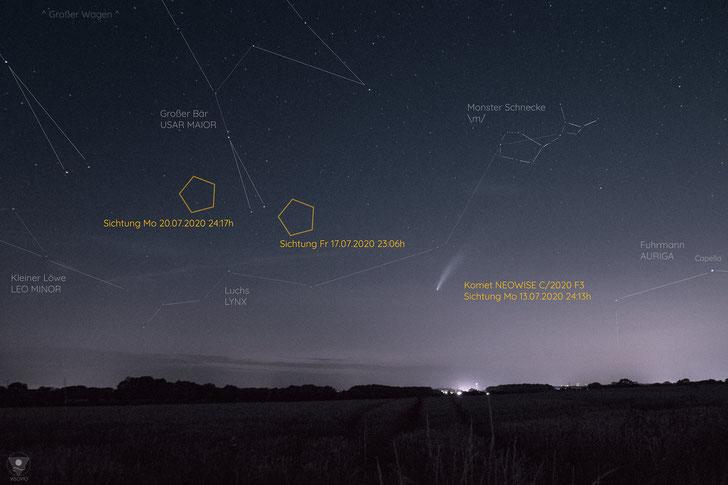 Komet NEOWISE - kleine Sternenhimmel Orientierung. Sichtungen Standort Ascheberg/Münster. |www.visovio.de
