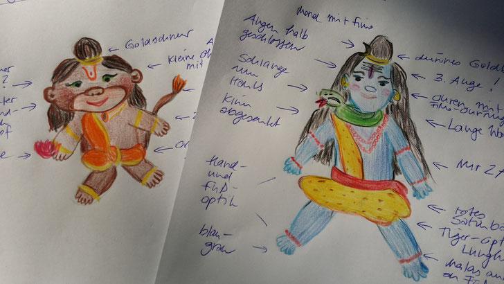 Die einzigen Skizzen zu den Kuschelgöttern :D - aus diesen Bildern sind Hanuman und Shiva entstanden
