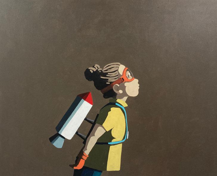 the rocket girl - Acryl auf Leinwand, 80x100cm, 2021