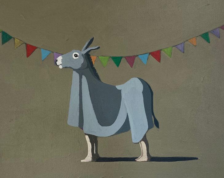 birthday donkey - Acryl auf Leinwand, 40x50cm, 2021 | verkauft