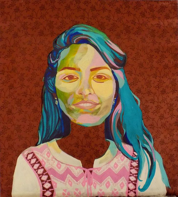 Femme Marocain II - 2019 - 70x80 cm, acryl op een hoofddoek