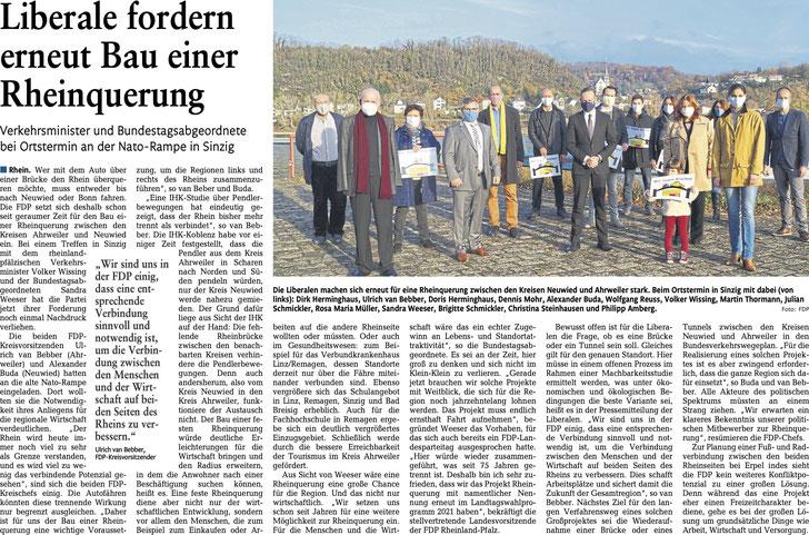 """Artikel """"Liberale fordern erneut Bau einer Rheinquerung"""" (Rhein-Zeitung, Ausgabe K, vom 02.01.2021, Seite 19) mit freundlicher Genehmigung der Rhein-Zeitung"""