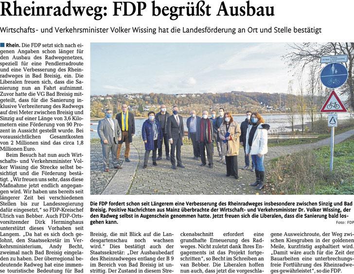 """Artikel: """"Rheinradweg: FDP begrüßt Ausbau"""" (Rhein-Zeitung, Ausgabe K, vom 29.12.2020, Seite 21) mit freundlicher Genehmigung der Rhein-Zeitung"""
