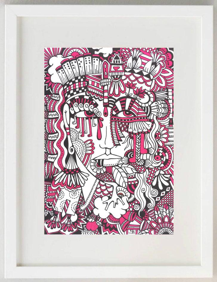"""9 /  JEANFILIP, """"Paesaggio toscano"""", 2018, tecnica mista su carta, 30 x 20 cm."""