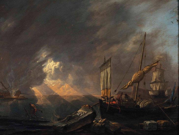 "Lieve Verschuier (1630-1686), ""Una costa del Mediterraneo con un galeotto che si prepara a sbarcare il suo carico"""
