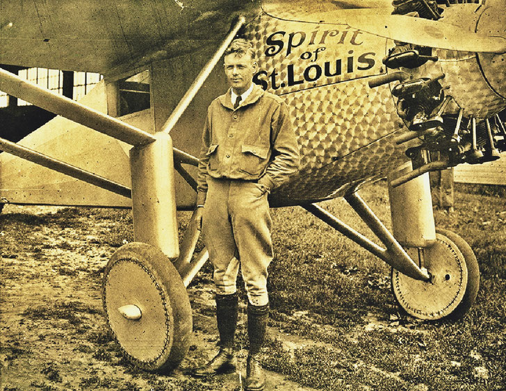 Charles Lindbergh and his airplane the »Spirit of St. Louis« made the first non-stop flight from New York to Paris in 1927 – Inspiration for the oil paintings »Atlantic Ccrossing« by Multimedia Artist Pedro Meier – Photo Archive Pedro Meier
