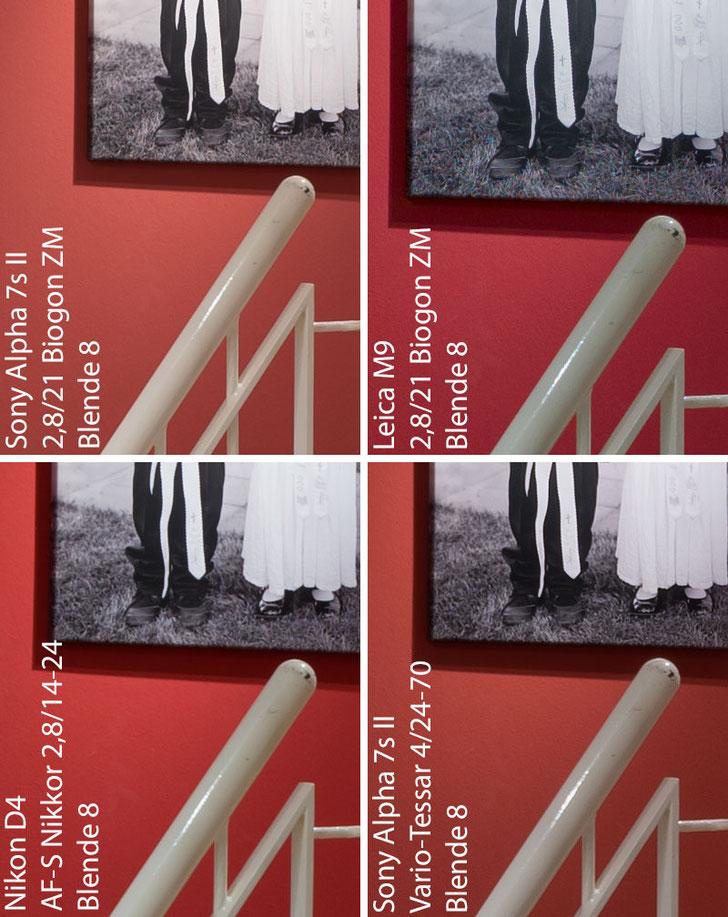 Im Test: 100%-Ausschnitte eines Architektur-Fotos mit SONY Alpha 7s2 mit ZEISS Biogon-M 2,8/21 mm im Vergleich. Foto: Klaus Schoerner