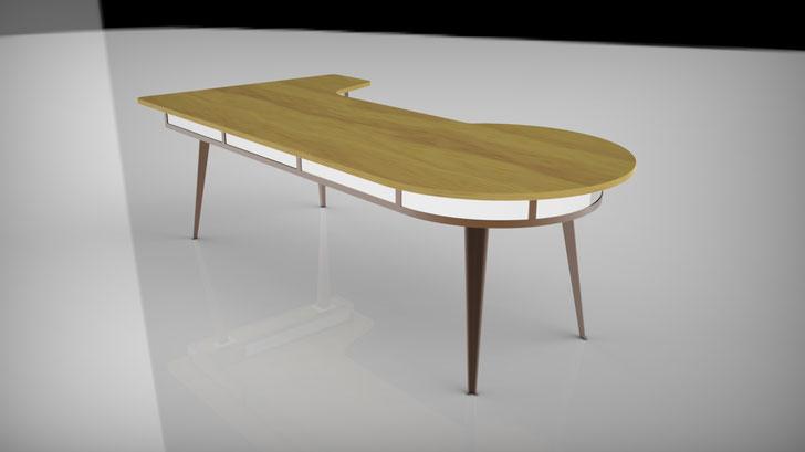 Bild: Schreibtisch Cortenstahl, Edelstahl, Holz