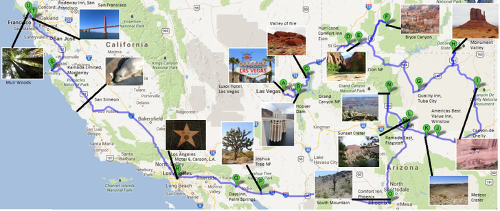 Unsere Route im Westen (Quelle: google.maps)