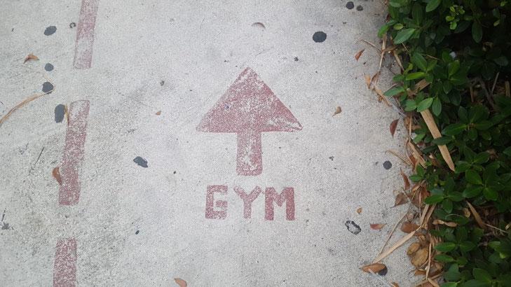 Der Asphalt einer Straße von Oben. Auf dem Asphalt steht ein großer roter Pfeil und darunter das Wort Gym.