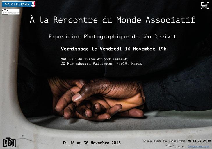 Affiche exposition Léo Derivot, à la rencontre du monde associatif, MAC VAC Paris 19 ème arrondissement du 16 au 30 Novembre 2018