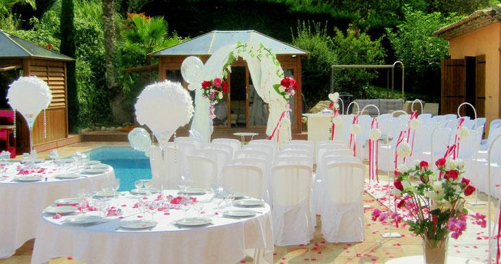 organisation mariage avec cérémonie laique dans villa sur le 06