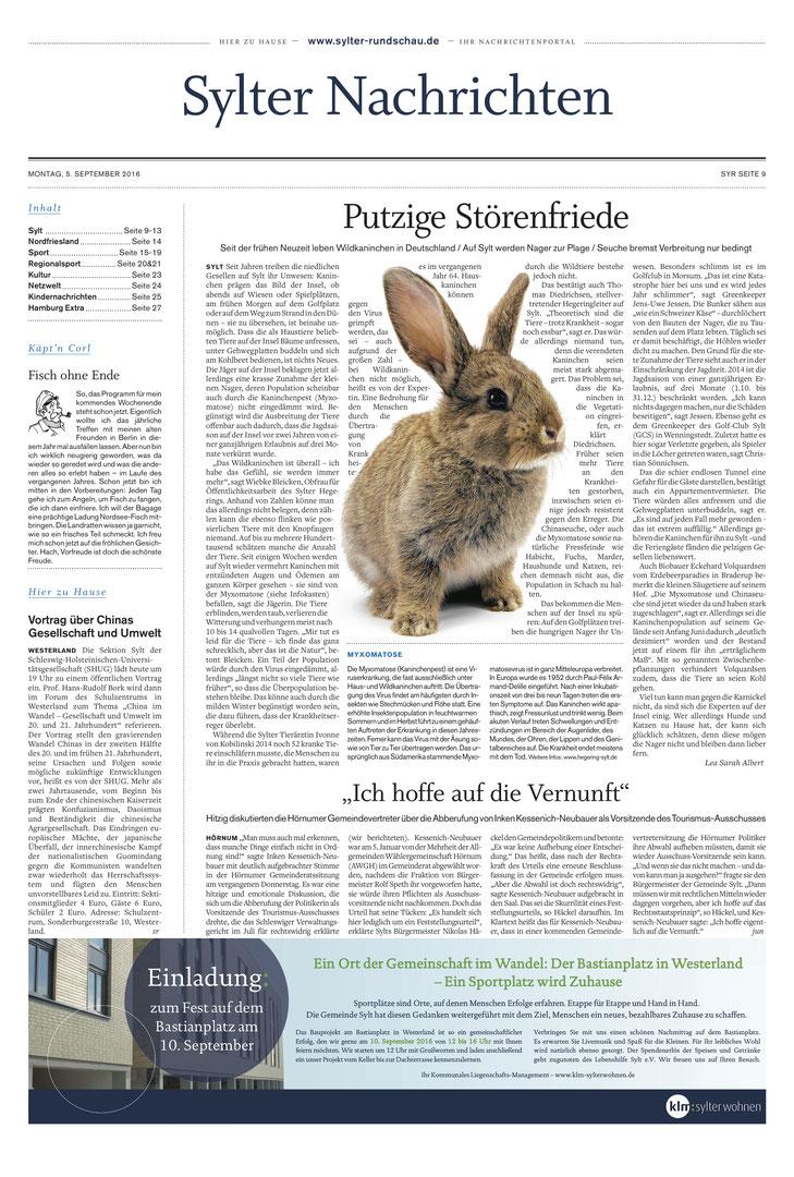 Quelle: Sylter Rundschau, Ausgabe: 05.09.2016