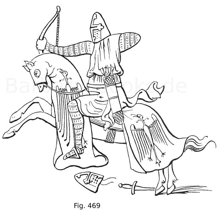 Fig. 467. Berittener Bogenschütze aus einer Miniatur der französischen Handschrift Histoire universelle. Um 1310. Nach Hewitt.