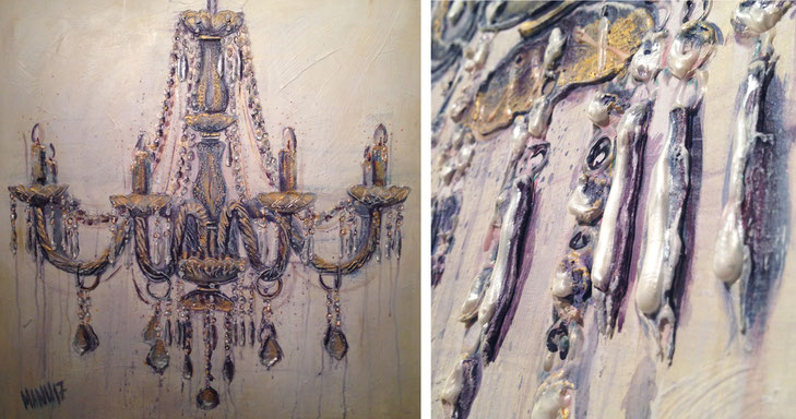 Chandelier II | Mixed Media auf Leinwand