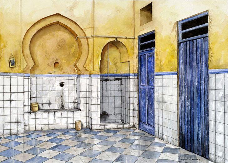 Umbral  (Baño público marroquí) 2005, acuarela 27X37 cm