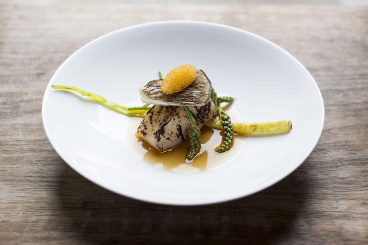 Fischgang der Alpine Cuisine auf einem halbtiefen weißen Teller geschmackvoll angerichtet im Döllerers Geniesserrestaurant