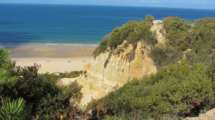 grün bewachsener ockerfarbener Felsen dahinter mit breitem Sandstrand und blauem ruhigen Meer an der Costa da Caparica