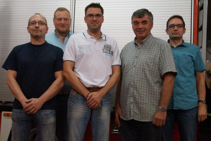 Der erste Vorstand des Fördervereins der Freiwilligen Feuerwehr Diepenau (von links): Matthias Jarks (Beisitzer), Rainer Bente (Beisitzer), Carsten Möhle (2. Vorsitzender), Gerd Bremermann (1. Vorsitzender), Bernd Schwiering (Schriftführer)