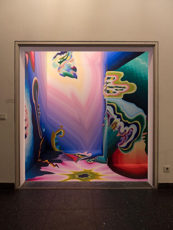 """""""Extrapolation"""", 2020, Acryl auf Wand, Vitrine im Hentrichhaus, Künstlerverein Malkasten, Düsseldorf"""