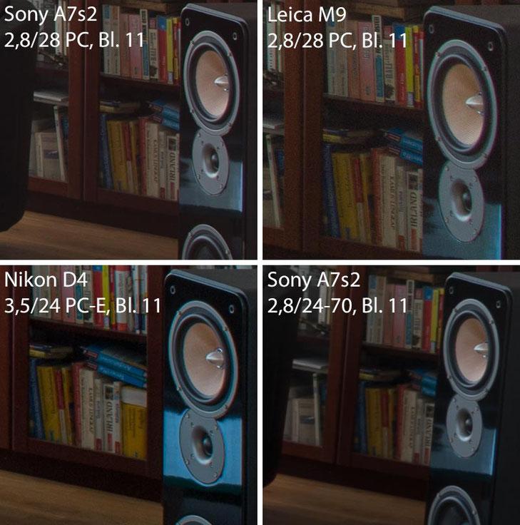 Im Test: 100%-Ausschnitte Bildrand aus dem Architekturfoto im Vergleich, SONY Alpha 7s2 mit LEICA PC-Super-Angulon-R 2,8/28 mm. Foto: Klaus Schoerner