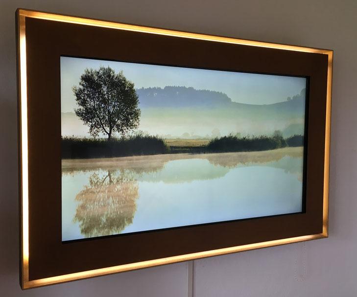 Bild: Tv-Rahmen aus Stahl, Cortenstahl