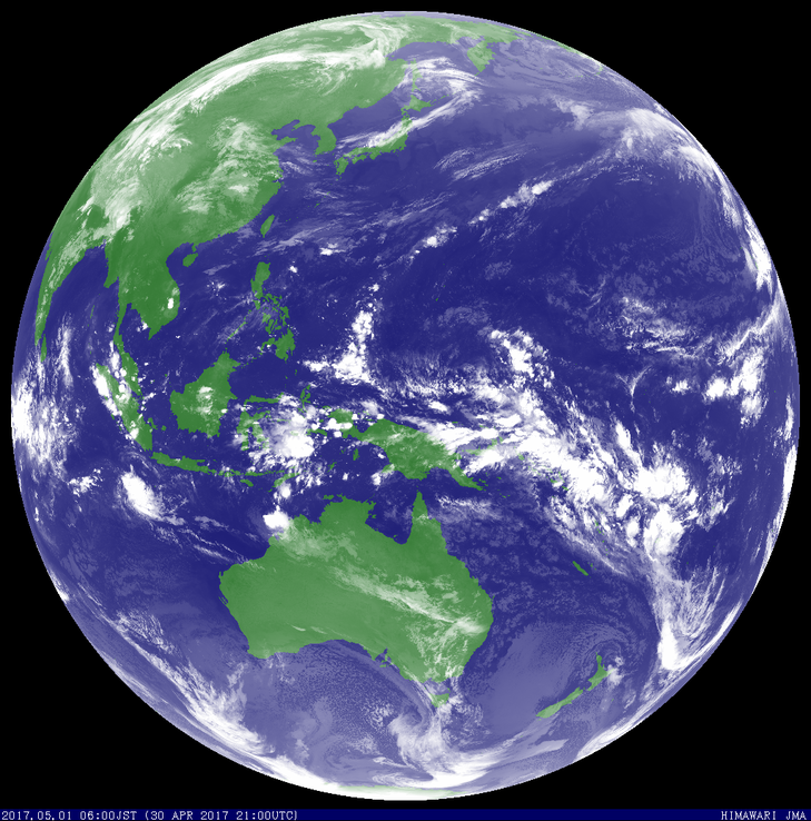 Satellite image of tropical cyclone Greg in the Indian Ocean. Image from JMA