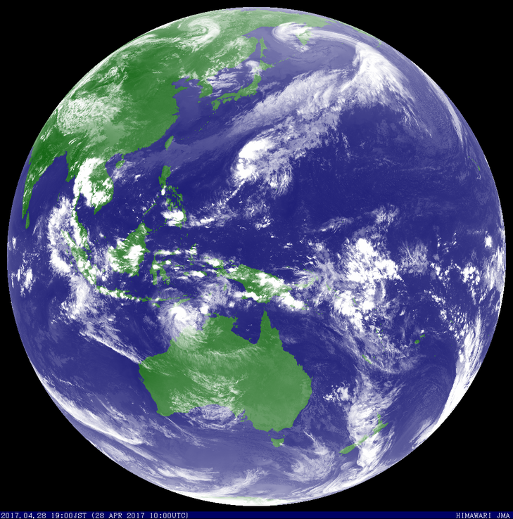 Satellite image of tropical cyclone Frances off the north west coast of Australia. Image from JMA