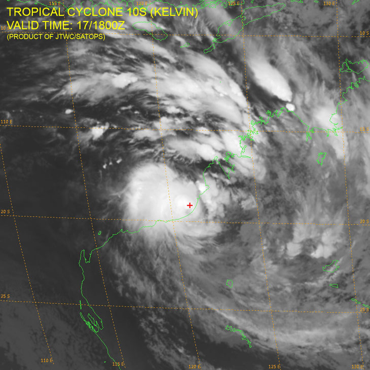 Satellite infrared image of Tropical Cyclone Kelvin. Image from JTWC.