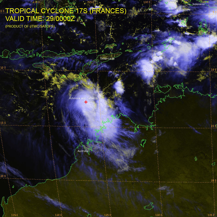 Satellite image of Tropical Cyclone Frances. from JTWC