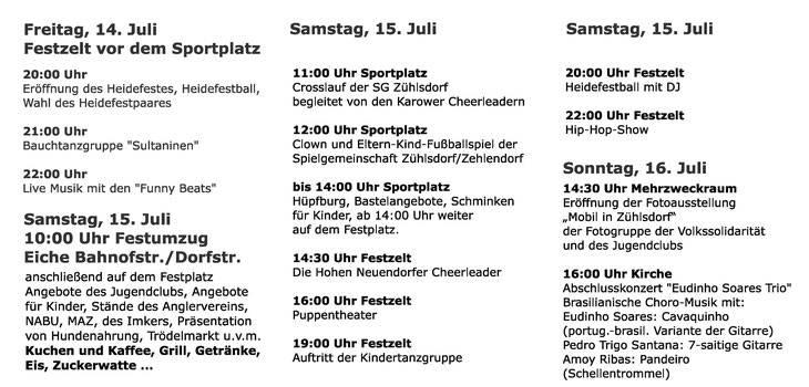 Heidefest Programm 2017