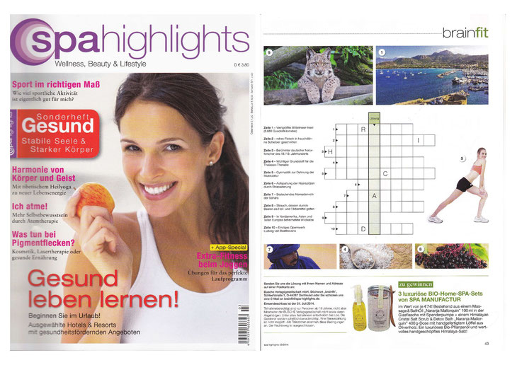 SPA HIGHLIGHTS JUNI/JULI/AUGUST 2014