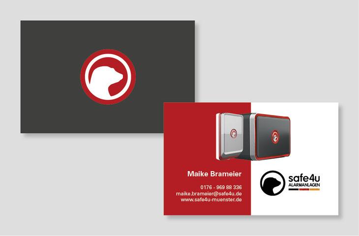 Image Design. Visitenkarte, Vorder- und Rückseite für safe4u Alarmanlagen für Maike Brameier.  Von Funkenflug Design Münster.