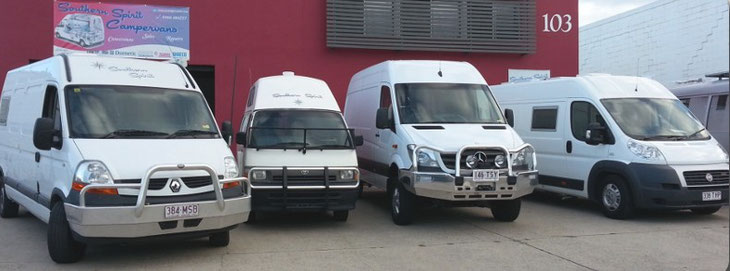 customer vehicles in front of the Southern Spirit workshop in Brisbane