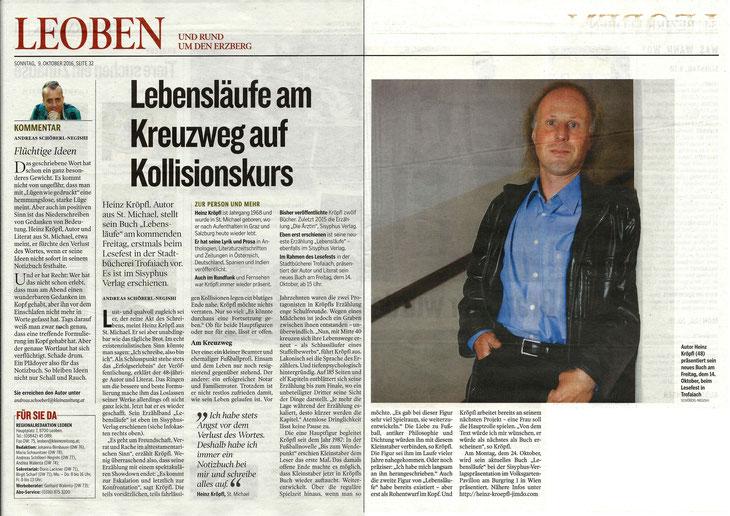 Buchvorstellung Lebensläufe Heinz Kröpfl Sisyphus Verlag Kleine Zeitung Leoben Andreas Schöberl-Negishi
