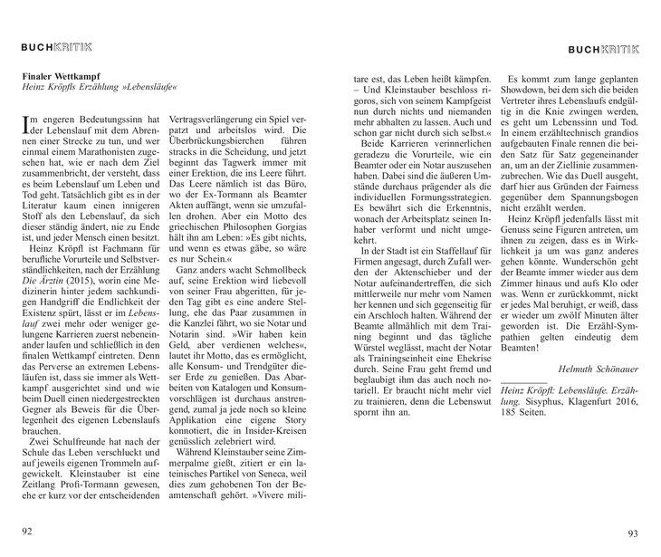 Rezension Heinz Kröpfl Lebensläufe Erzählung Sisyphus Verlag Karl-Markus Gauß Helmuth Schönauer