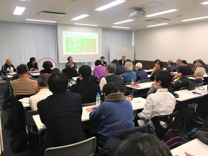 2/22、市民アクションチーム5の会場(約60人参加で立ち見でした)。赤丸は大石。