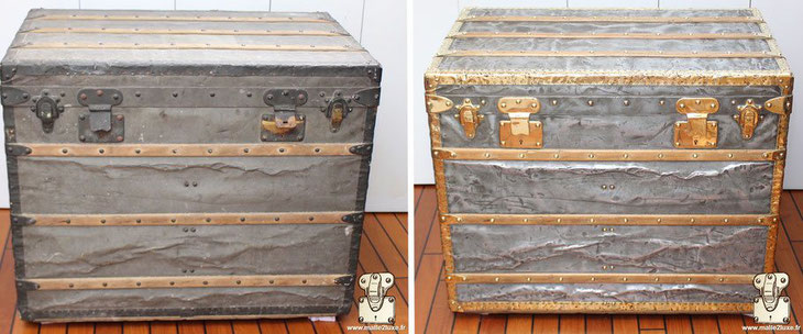 restoration of a louis vuitton trunk in zinc and brass luxury trunk