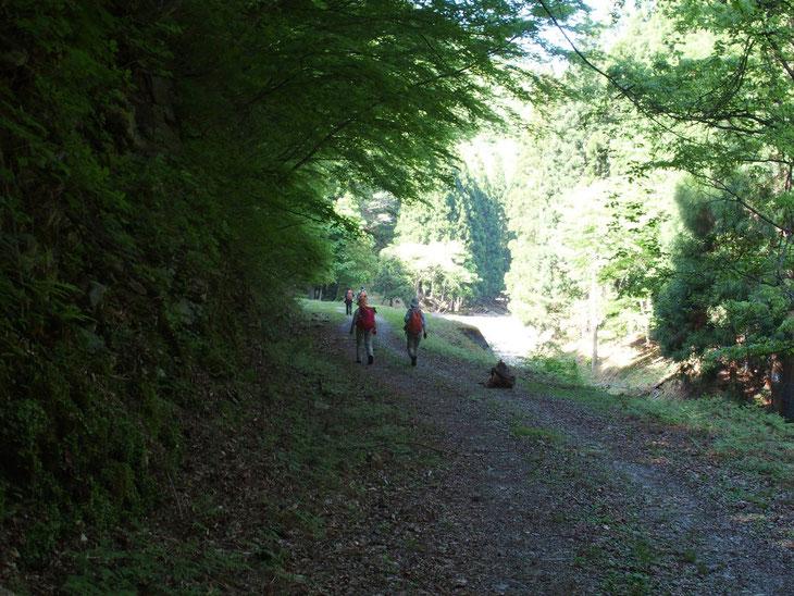谷川を渡渉しながら下ると車の入らない林道に出る。登山口とはかなり上流の集落までテクテク。
