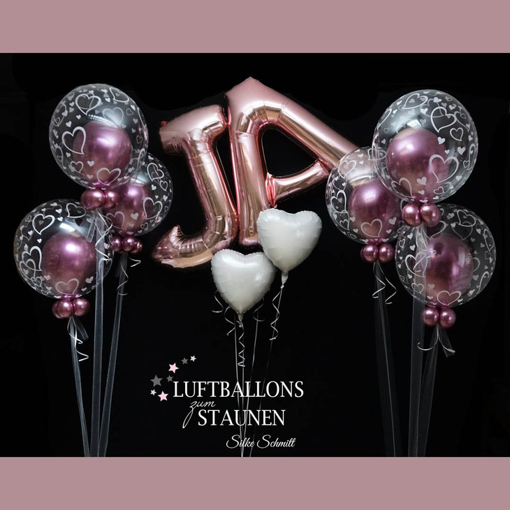 Ballon Luftballon Heliumballon Folienballon Bubble Wunschbubble Hochzeit Heirat Liebe JA Standesamt Trauung Kirche Polterabend Geschenk Deko Dekoration Überraschung Herz Bouquet Versand