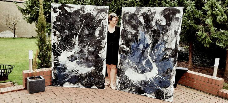 große abstrakte schwarz weiß Bilder