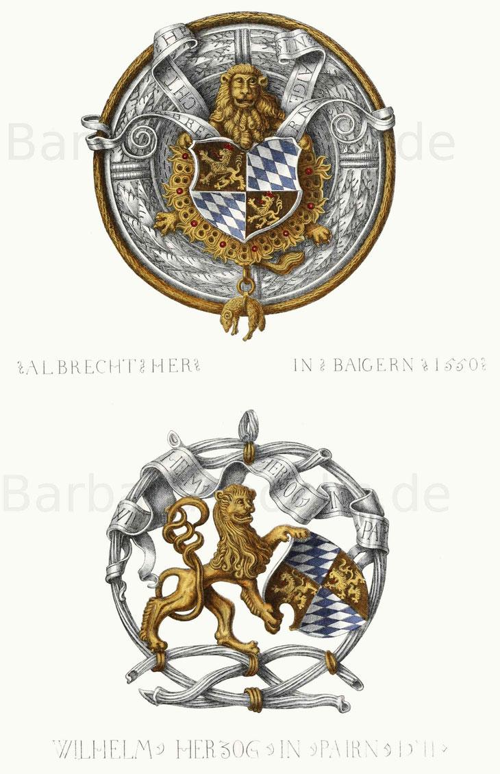 Zwei Wappenschilde der Schützengildenkette aus dem Rathaus zu München