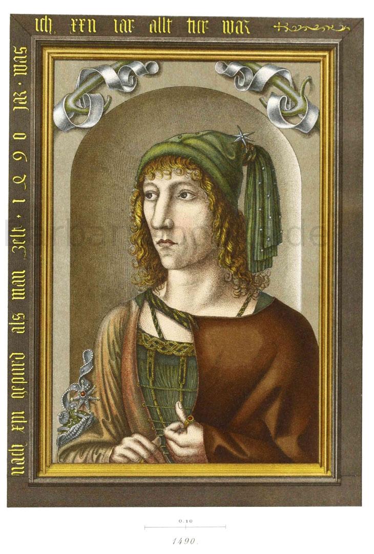 Bildnis eines jungen vornehmen Mannes in Haustracht, nach einem Ölgemälde vom Jahr 1490.